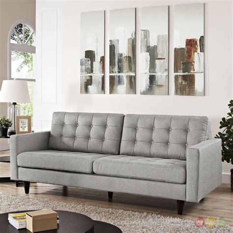 Light Grey Sofa by Empress Contemporary Button Tufted Upholstered Sofa Light