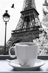 Torre Eiffel con la taza de café en estilo blanco y negro, París, Francia Foto de stock