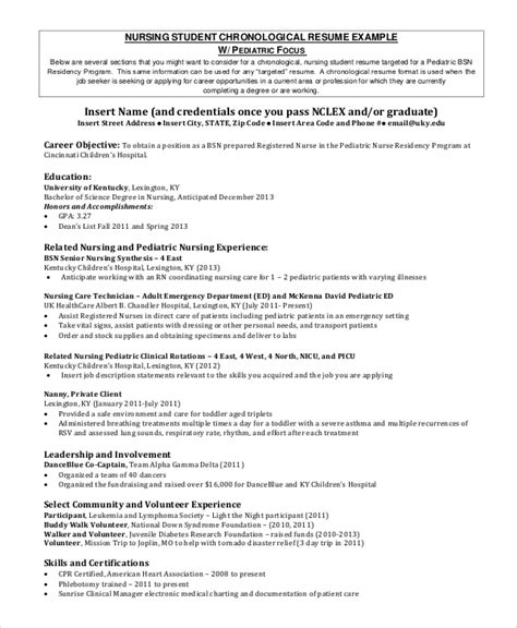 The Chronological Resume Lists The Following by Sle Nursing Student Resume 8 Exles In Word Pdf