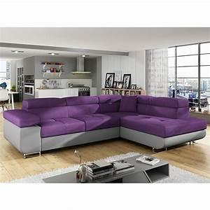 canap angle convertible violet en tissu sofamobili With canape d angle violet