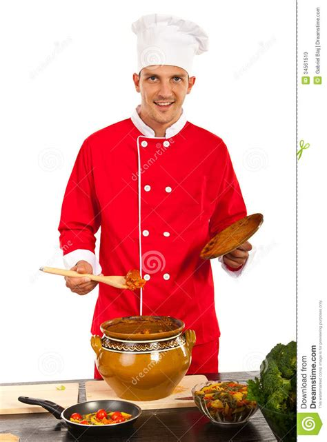Happy Chef Man Showing Food Royalty Free Stock Images