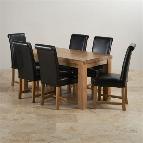 fresco dining set 5ft oak dining table 6 black leather