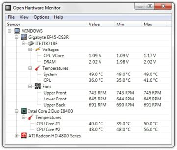 open hardware monitor core temp fan speed  voltages