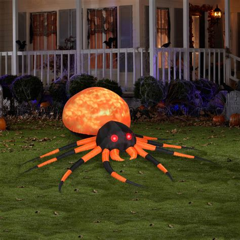 massive inflatable orange fire  ice projection spider