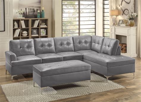 leather sectional sofa degah grey leather sectional sofa