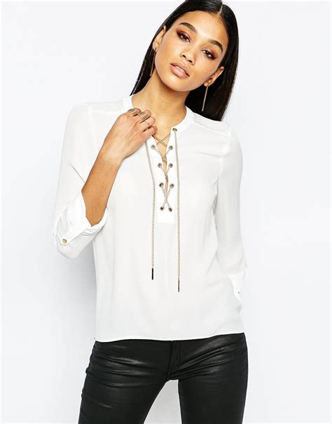 open blouses lipsy open front blouse with chain detail in white lyst