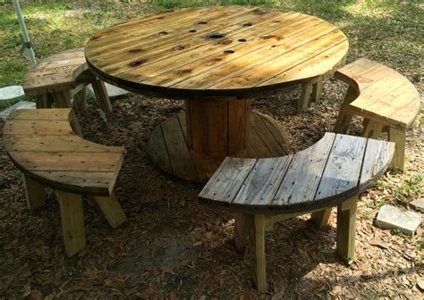 large wooden spools used for tables wire spool table with benches