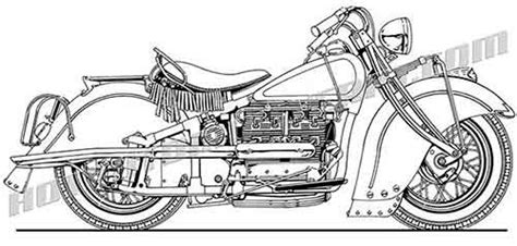 Vintage Indian Straight 4 Motorcycle Clip Art, Buy Two