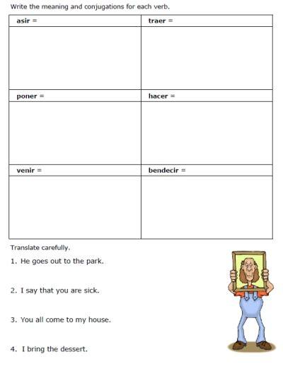 Free Go Verbs Worksheets  Printable Spanish