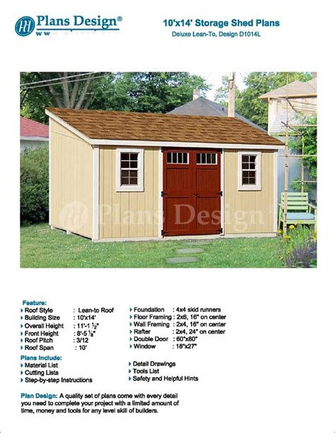 slant roof storage shed plans 10 x 14 storage shed plans slant lean to d1014l