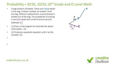 word problem probability gcse igcse 10th grade math