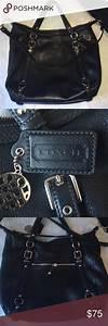 Large Coach Black Leather Bag  Purse