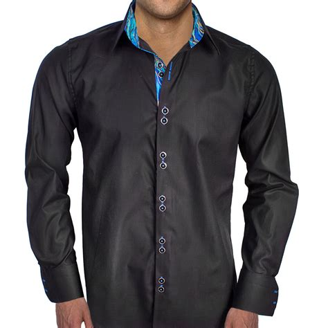 mens designer dress shirts black with blue contrast dress shirts