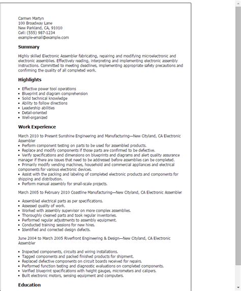 Professional Electronic Assembler Templates To Showcase. Resume Builder Templates. Resume Portfolio Holder. 92a Job Description Resume. Resume Format For 1 Year Experienced Software Developer. Resume Resources. Preparing A Resume With No Experience. Purdue Resume. Apple Pages Resume Templates