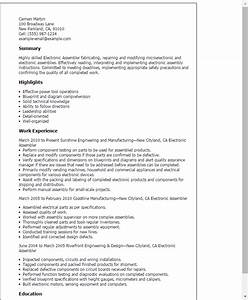 professional electronic assembler templates to showcase With electronic resume format