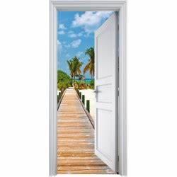 Deco Porte Interieure En Trompe L Oeil : sticker porte trompe l 39 oeil d co les tropiques 90x200cm art d co stickers ~ Carolinahurricanesstore.com Idées de Décoration