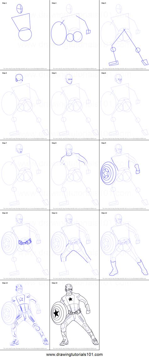 draw captain america printable step  step drawing sheet drawingtutorialscom