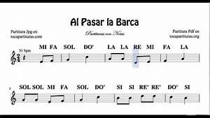 Al Pasar la Barca Partitura Fácil con Notas de Flauta Violín Oboe YouTube