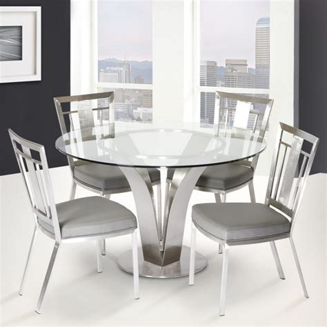 cleo contemporary dining table  stainless steel