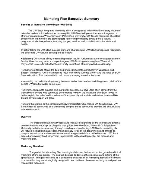 7 marketing plan executive summary 28 images marketing