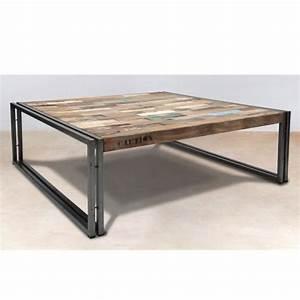 Table Basse Fer Et Bois : table basse en bois 100 cm industry achat vente table basse table basse en bois 100 cm ~ Teatrodelosmanantiales.com Idées de Décoration