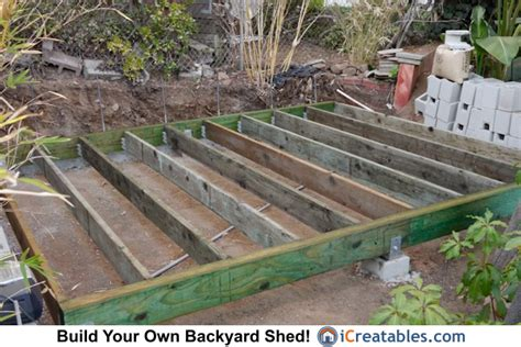 shed foundation build building floor frame roof wood lean foundations 10x12 modern beam icreatables treated types terrain needs
