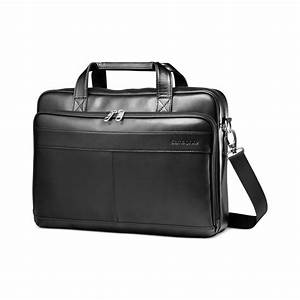 Samsonite Leather Slim Portfolio Laptop Briefcase in Black ...