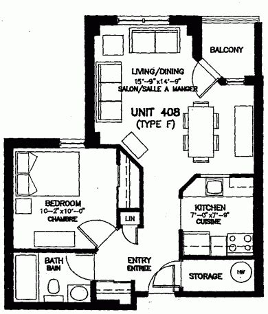 One Bedroom Unit Layout by Units Coop Voisins
