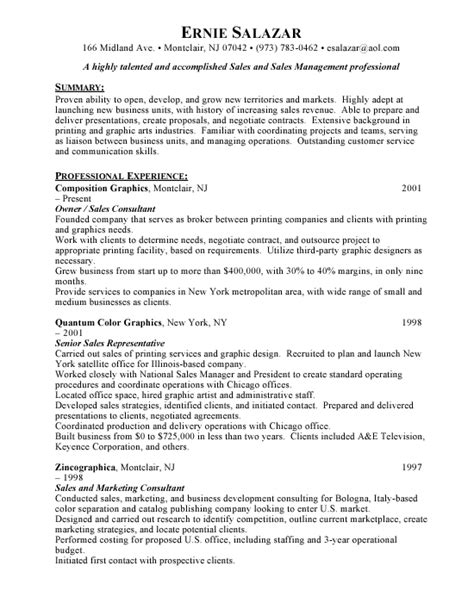 Great Exles Of Sales Resumes by A Sales Resume