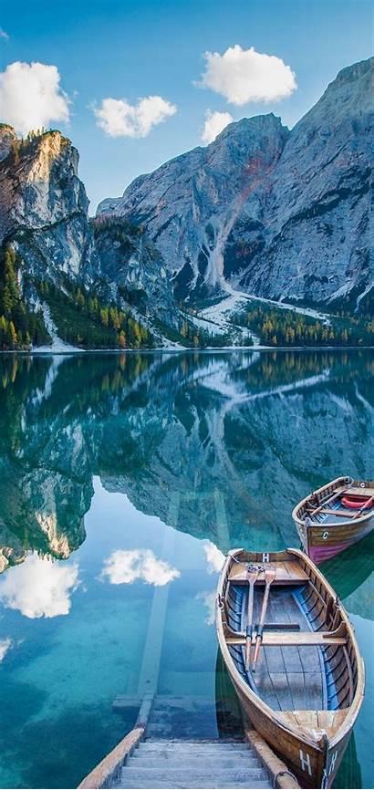 Boat Realme Lake Mirror Wallpapers Deck Mountains