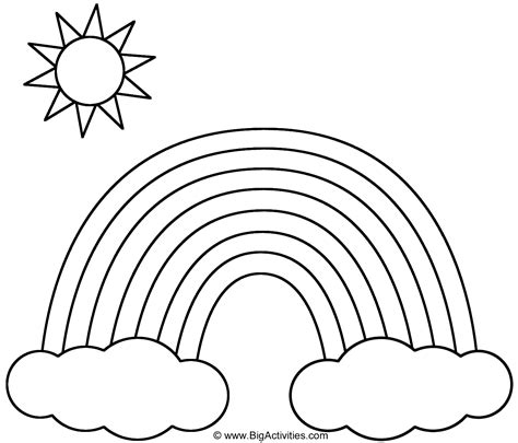 Rainbow with Clouds and Sun Coloring Page (Nature)