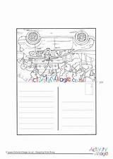 Trip Road Colouring Postcard Activity Village Explore sketch template