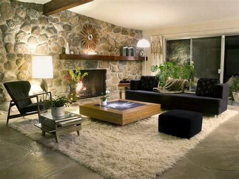 wandgestaltung wohnzimmer steinoptik rustikal shaggy