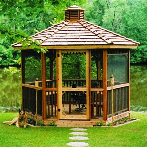 screened gazebo hexagon cedar gazebo kit ft idcsi