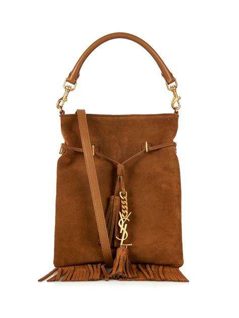 saint laurent monogram fringe suede bucket bag  brown lyst