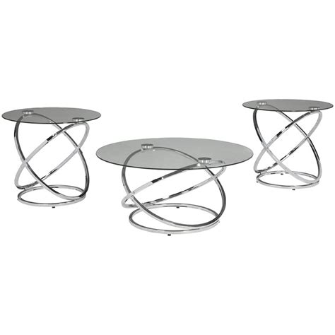 Coffee, console, sofa & end tables : Ashley Furniture Hollynyx 3 Piece Glass Top Coffee Table Set in Chrome - T270-13