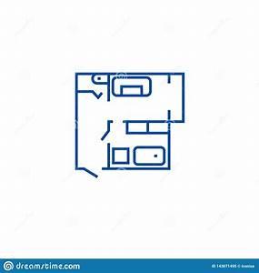 Blueprint, Flat, House, Plan, Line, Icon, Concept, Blueprint, Flat, House, Plan, Flat, Vector, Symbol, Sign