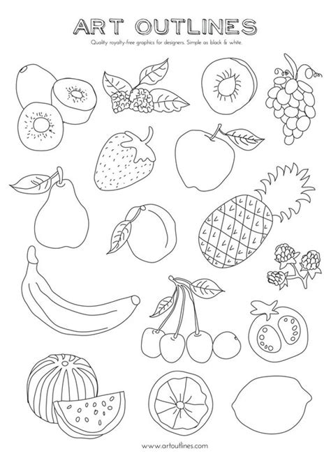 set  fruits art outlines full page  original hand drawn