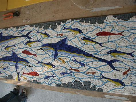 knossos greek mosaic mural  bath tub wall recreated