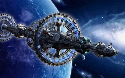 Space Station Spaceship Planet Fiction Science Desktop