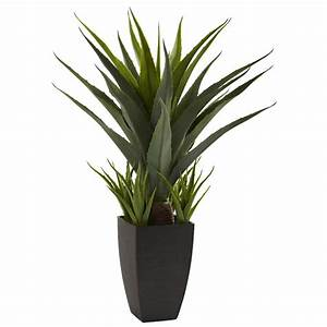 Agave Silk Plant with Black Planter - Artificial Plants