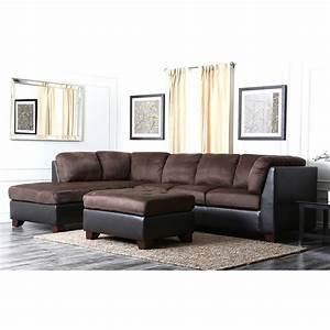 sofa abbyson living charlotte dark brown sectional sofa With charlotte black faux leather convertible sectional sofa bed