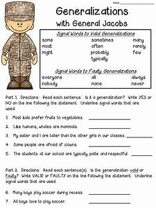 Free Worksheet For Teaching About Generalization