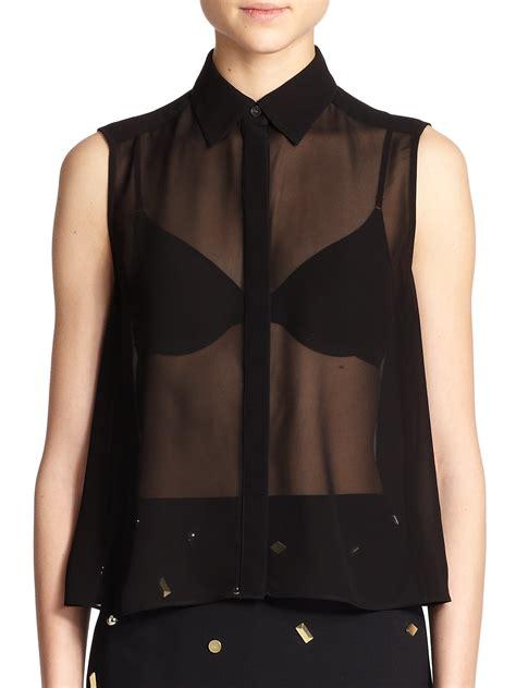 black sleeveless blouse mcq sheer sleeveless blouse in black lyst