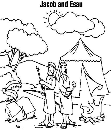 jacob  esau camping coloring page netart