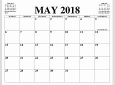 MAY 2018 2019 CALENDAR OF THE MONTH FREE PRINTABLE MAY