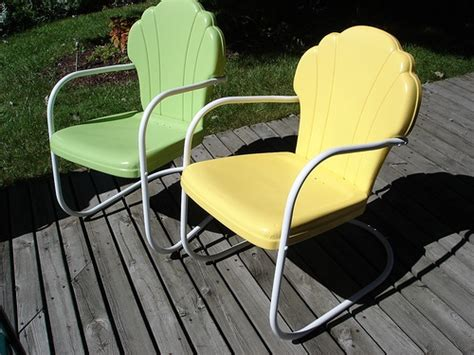 our vintage shell back metal lawn chairs retro lawn