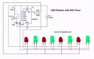 Led Flasher Circuit Diagram Using 555 Timer