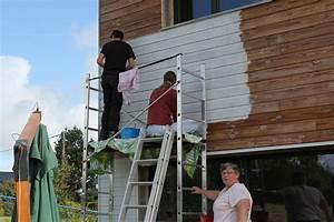 Peinture Sur Bois Exterieur : la peinture du bardage en blanc et bleu la triskeline ~ Melissatoandfro.com Idées de Décoration