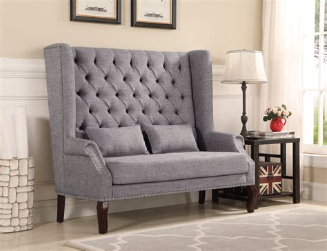 Accent Loveseat by Gray Tufted Accent Loveseat My Furniture Place
